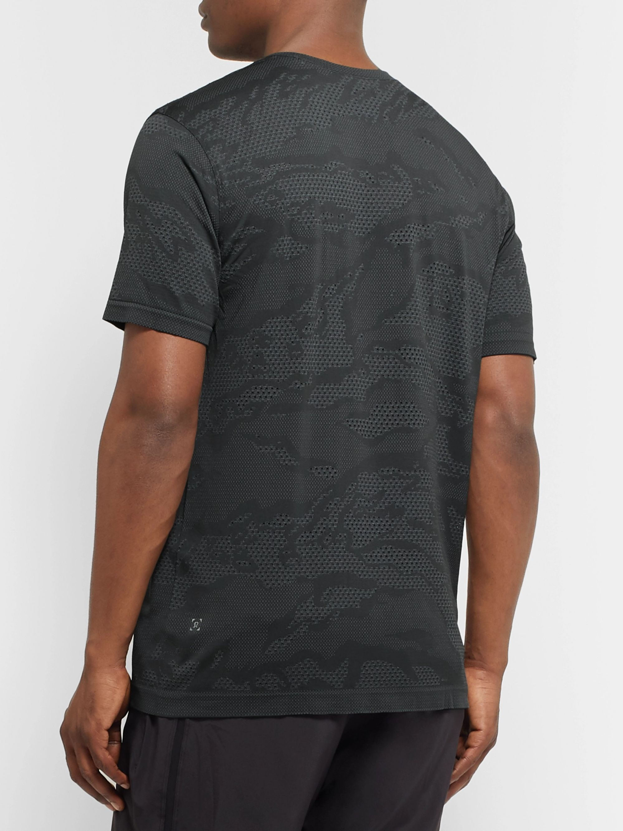 Lululemon Metal Vent Breathe Camouflage-Print Stretch-Jersey and Mesh T-Shirt