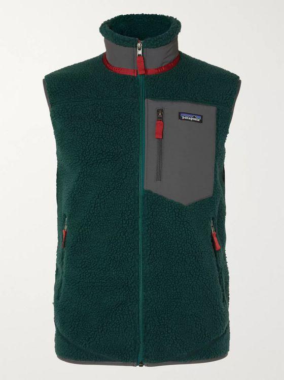 파타고니아 클래식 레트로-X 뽀글이 플리스 조끼 - 페트롤 Patagonia Classic Retro-X Shell-Trimmed Fleece Gilet