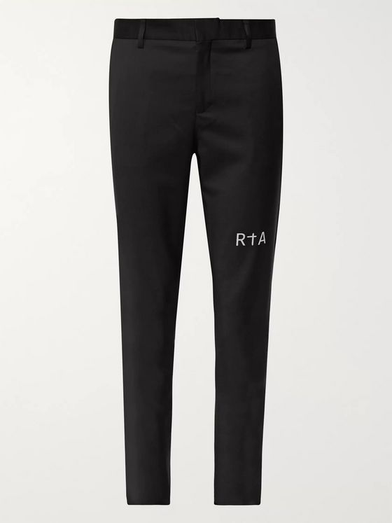 RtA Slim-Fit Tapered Logo-Print Wool Trousers