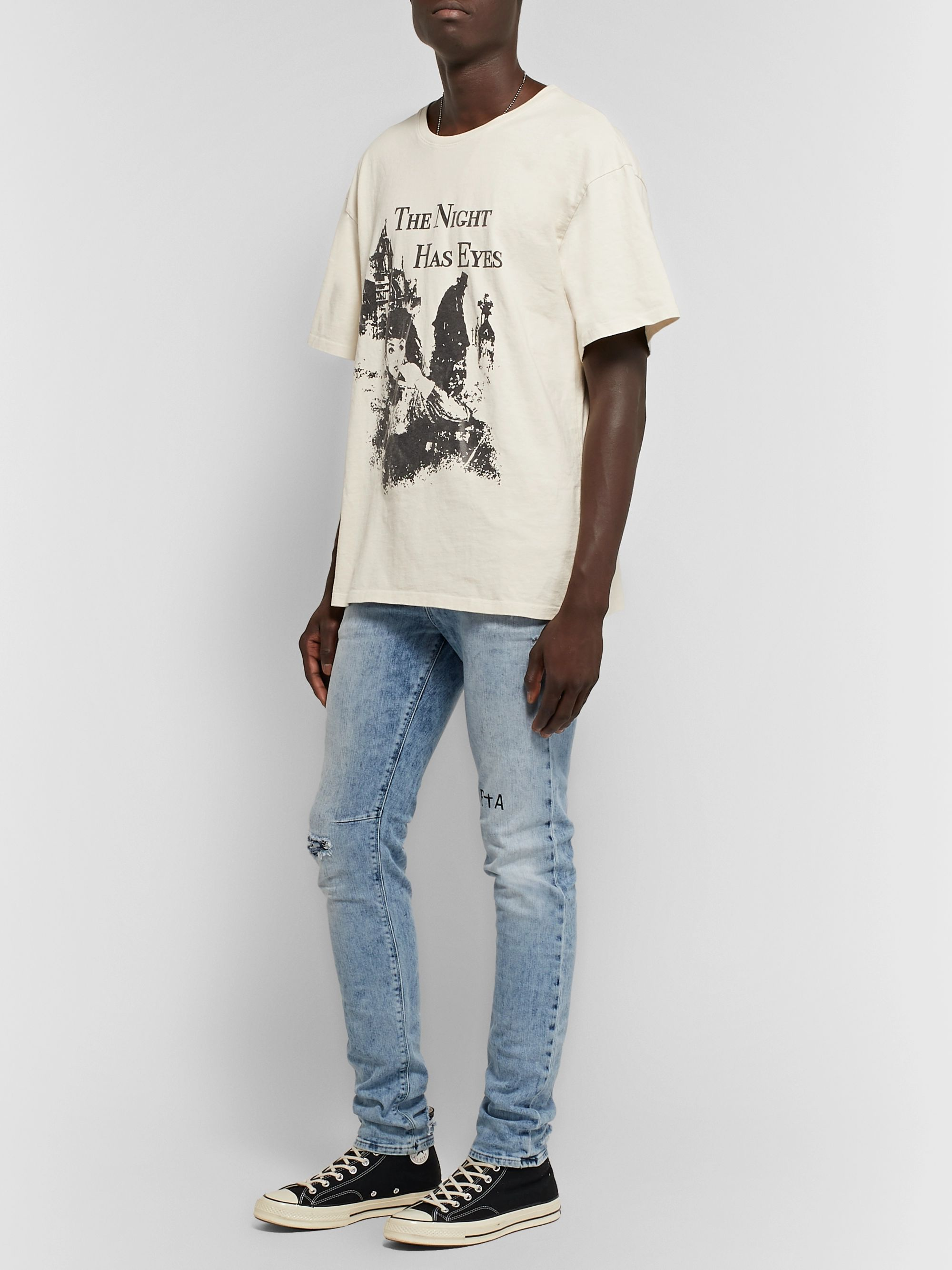 RtA 1 Skinny-Fit Printed Distressed Stretch-Denim Jeans