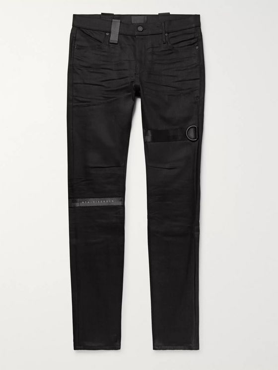 RtA Skinny-Fit Webbing-Trimmed Denim Jeans