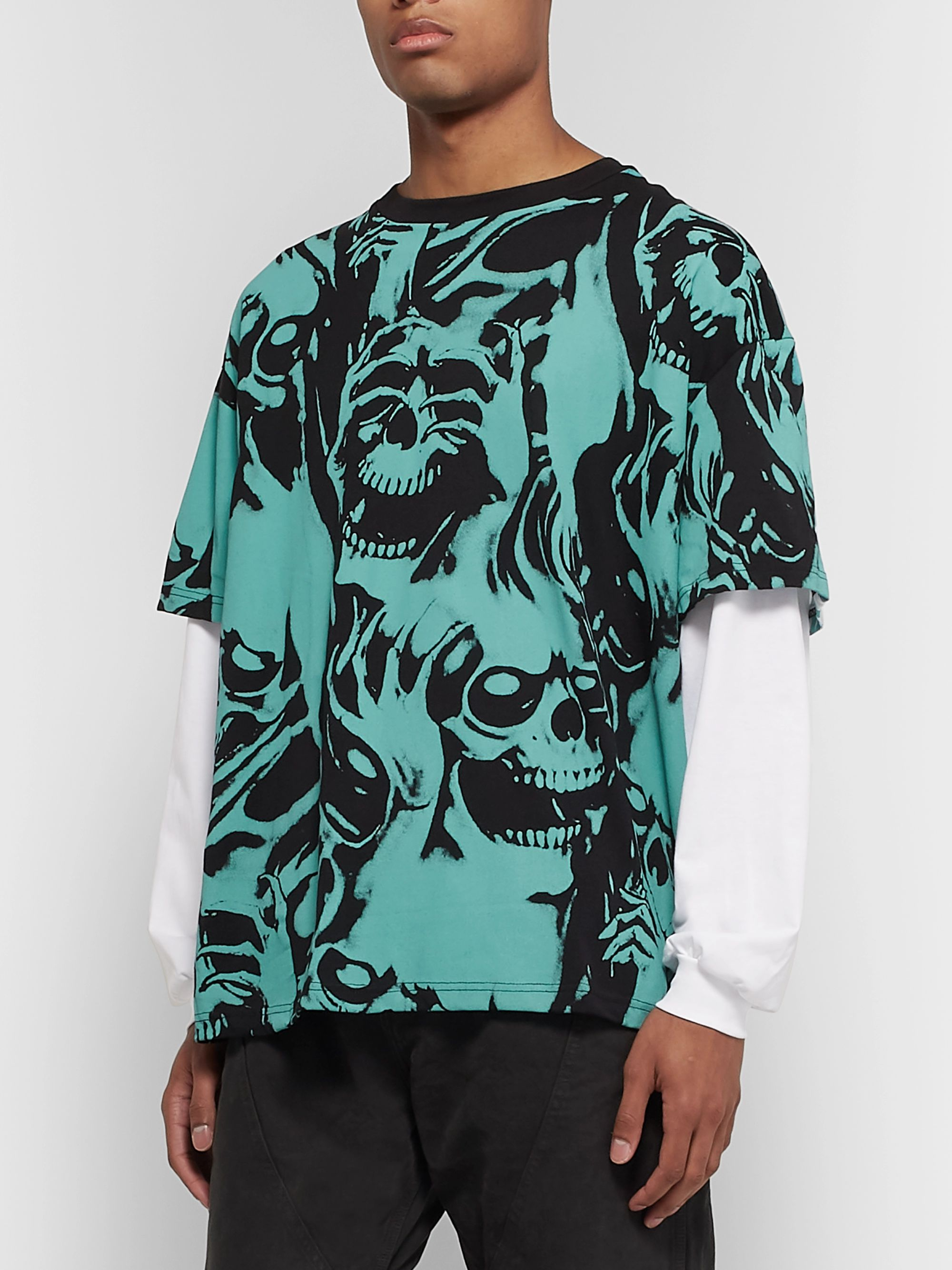 Resort Corps Oversized Layered Printed Cotton-Jersey T-Shirt
