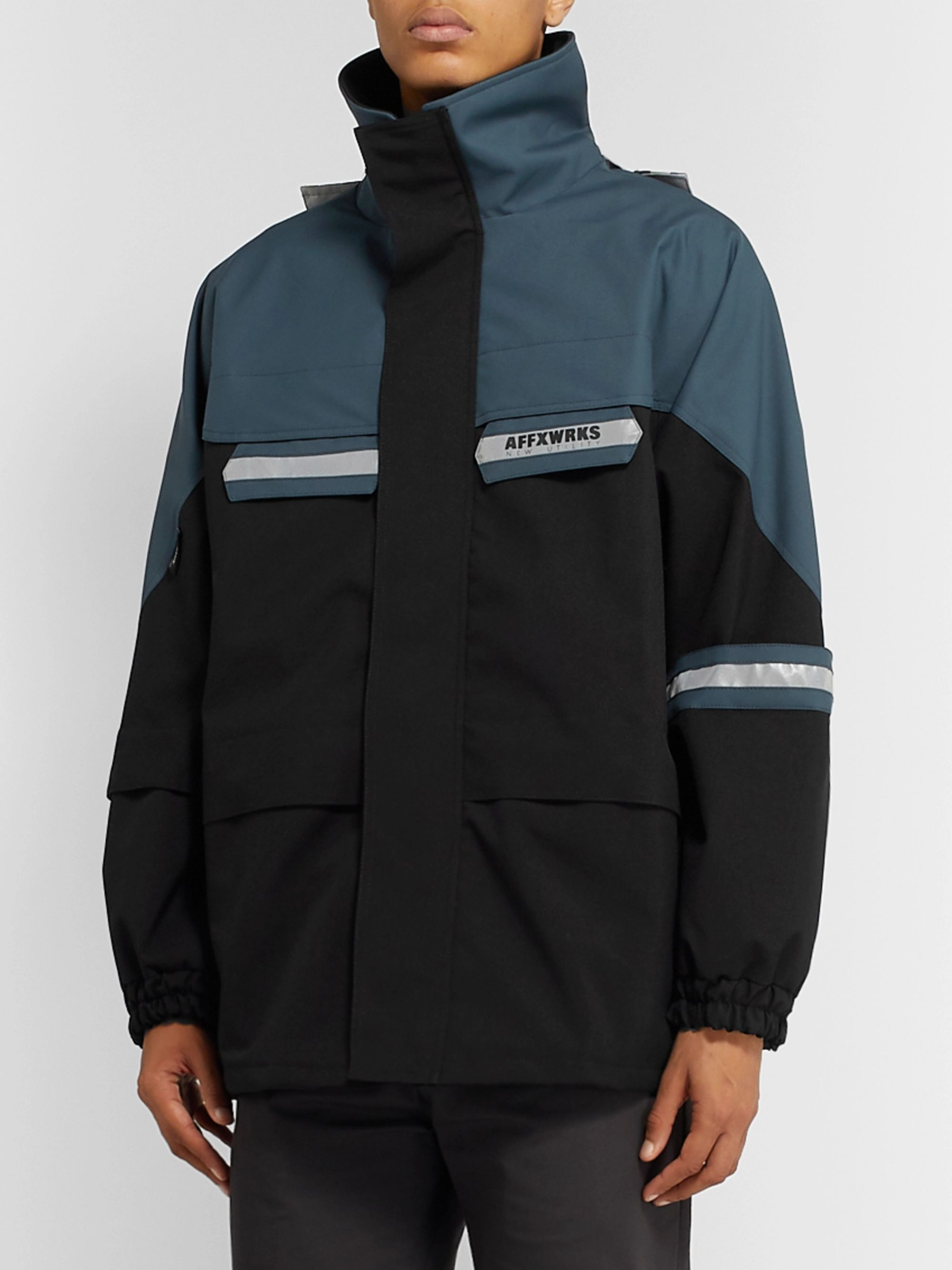 AFFIX Reflective-Trimmed Panelled Shell Jacket