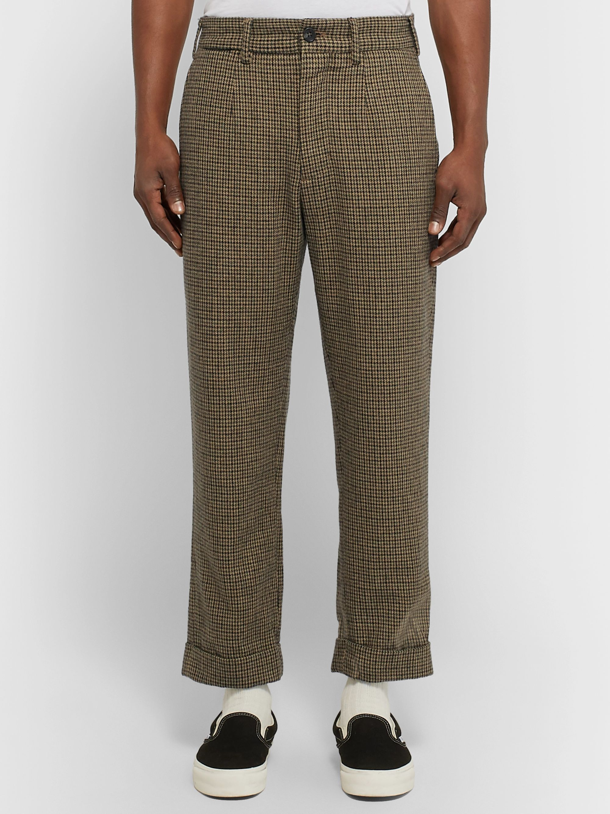 Engineered Garments Cropped Puppytooth Pleated Woven Trousers