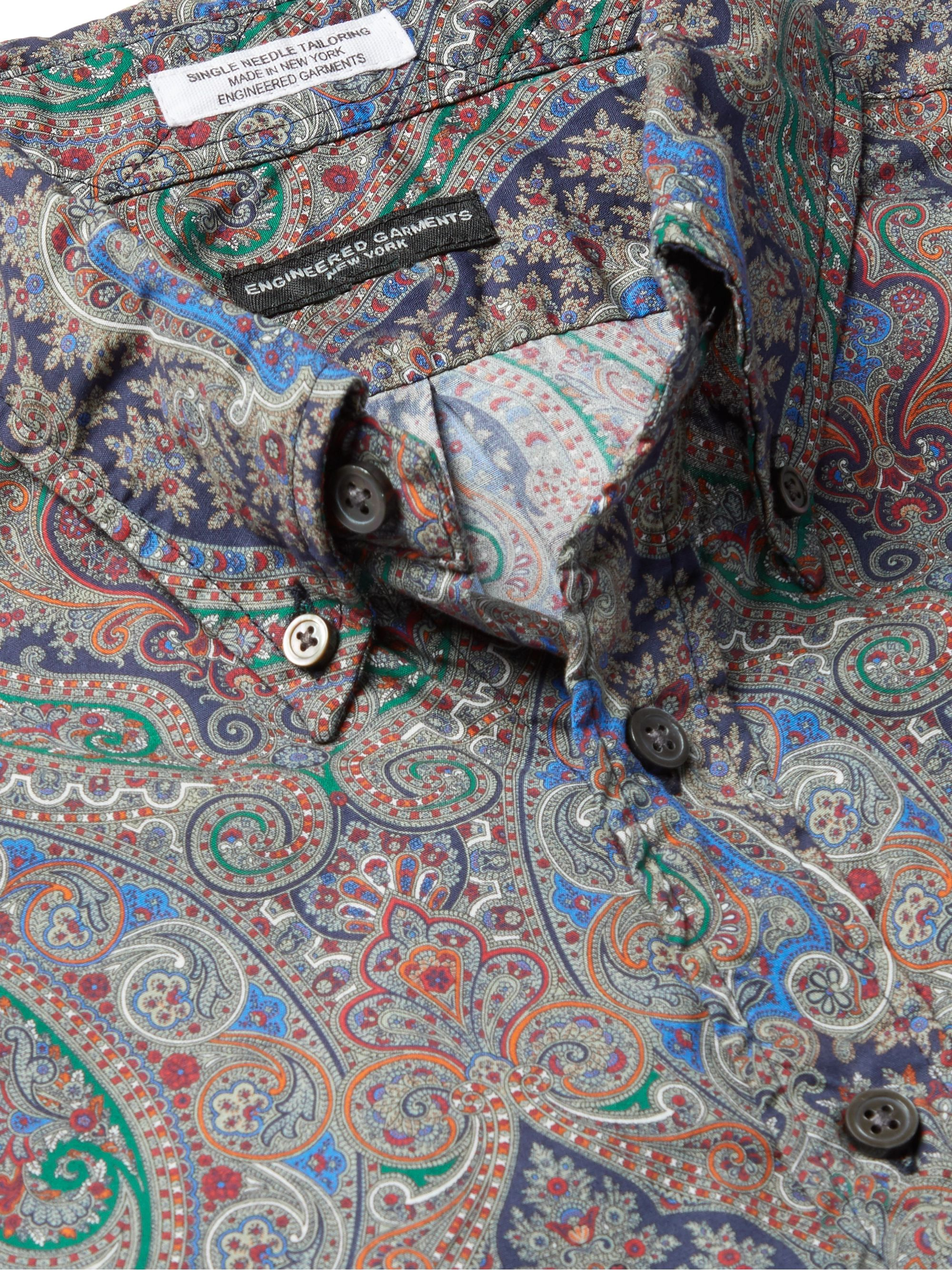 Engineered Garments Button-Down Collar Paisley-Print Cotton-Poplin Shirt