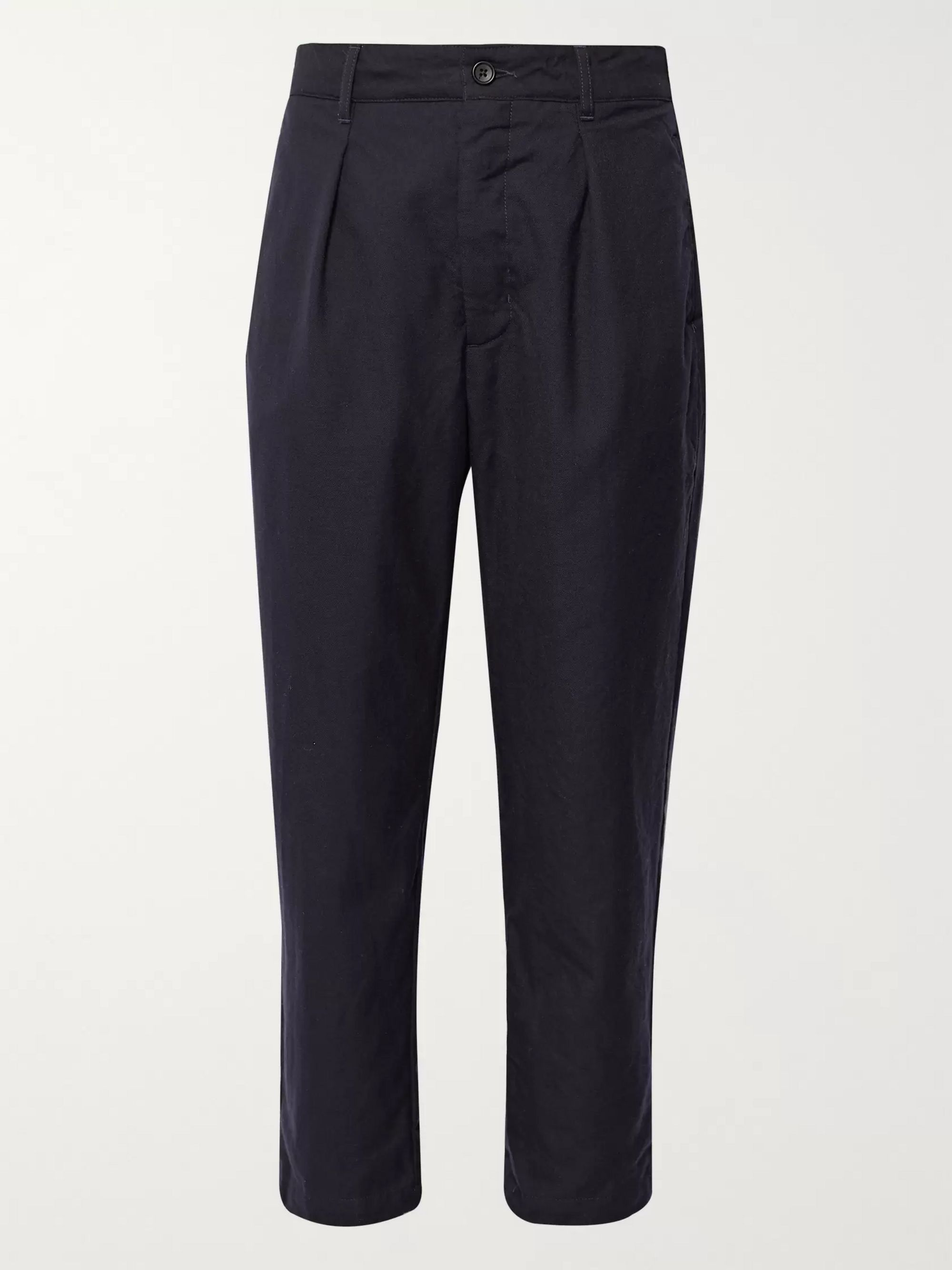 Engineered Garments Navy Pleated Wool Trousers