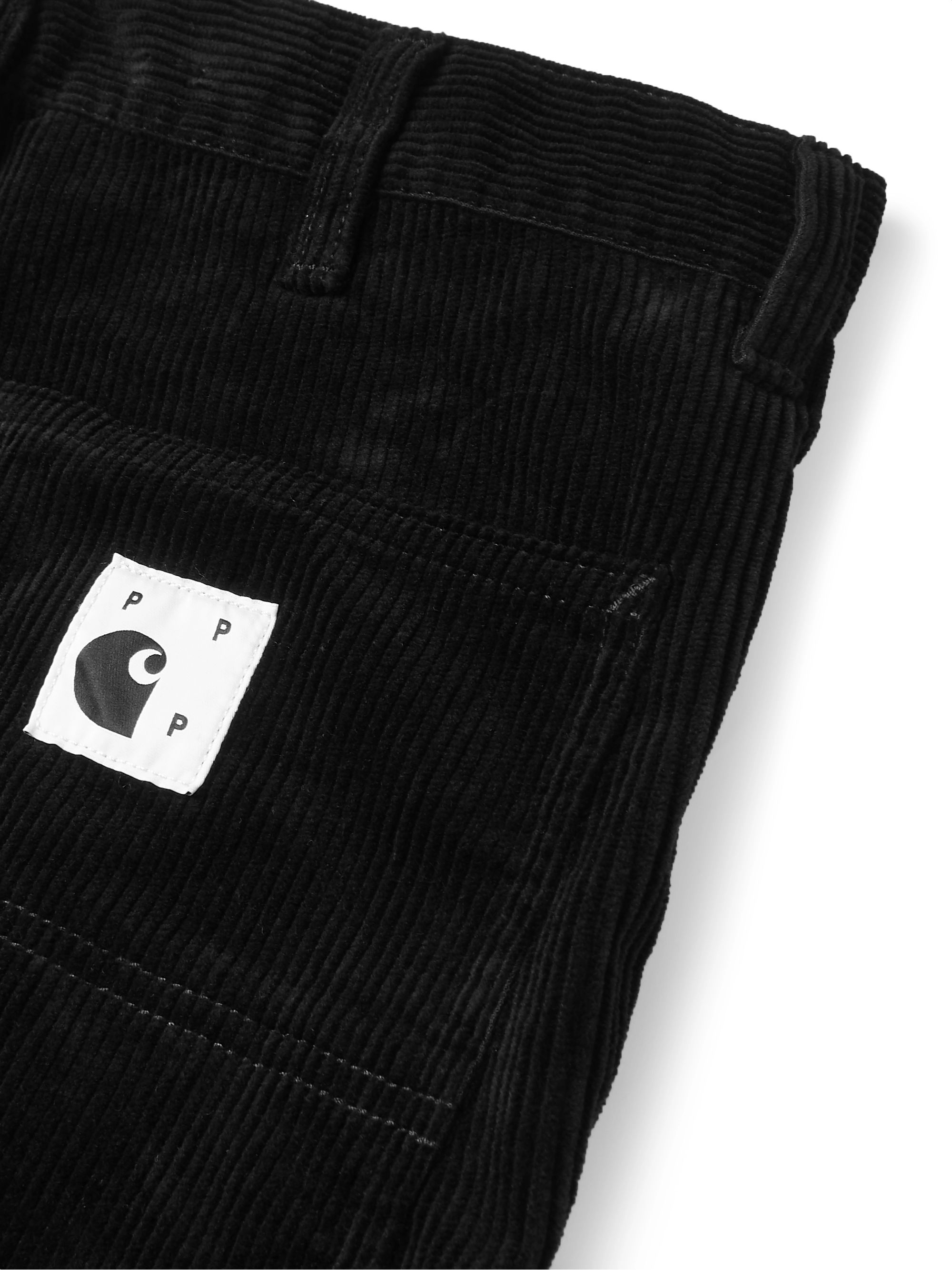 Pop Trading Company + Carhartt WIP Black Cotton-Corduroy Trousers