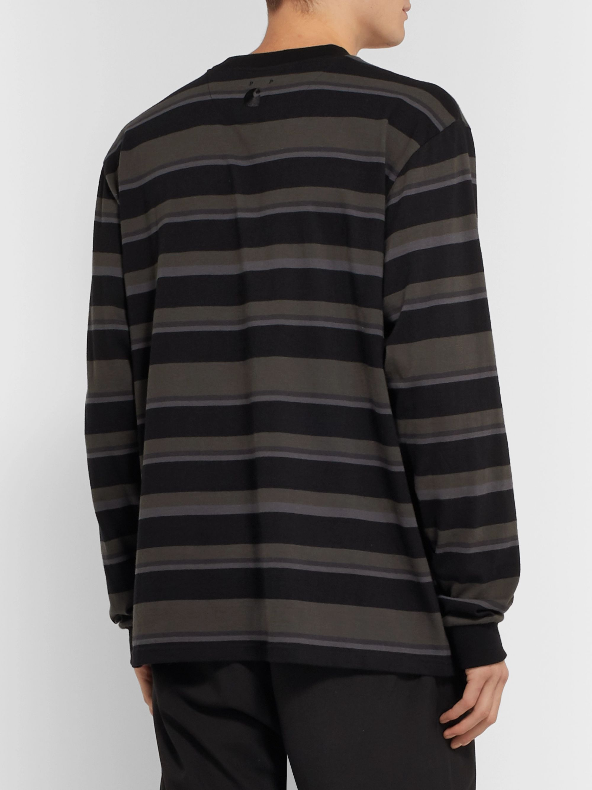 Pop Trading Company + Carhartt WIP Garment-Dyed Striped Cotton-Jersey T-Shirt