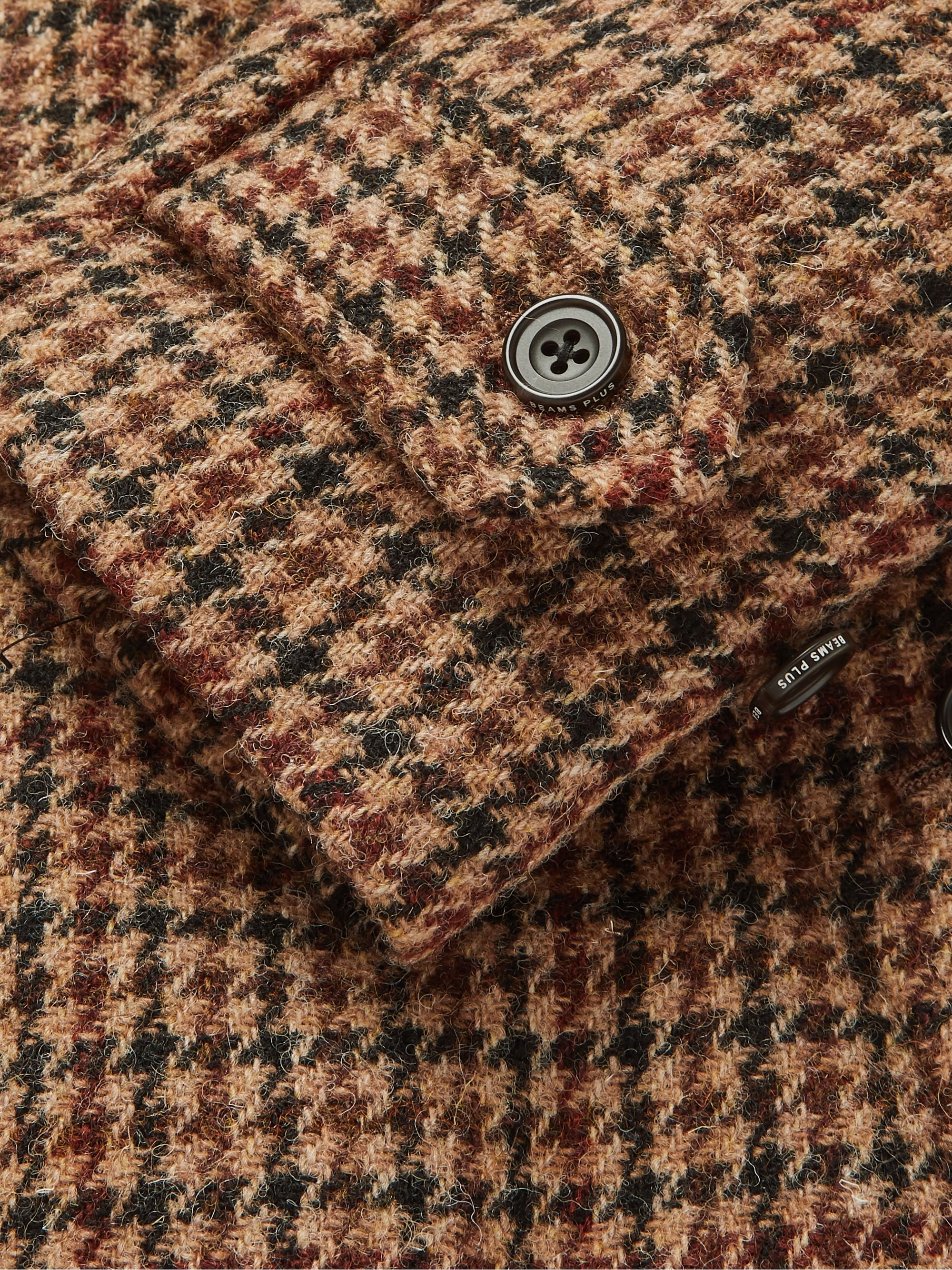 Beams Plus Brown Harris Tweed Houndstooth Wool Overcoat