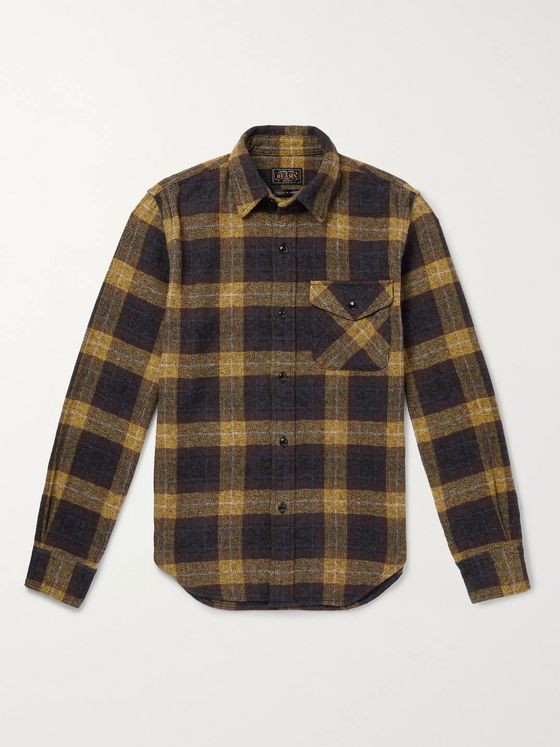 Beams Plus Checked Herringbone Cotton-Flannel Shirt