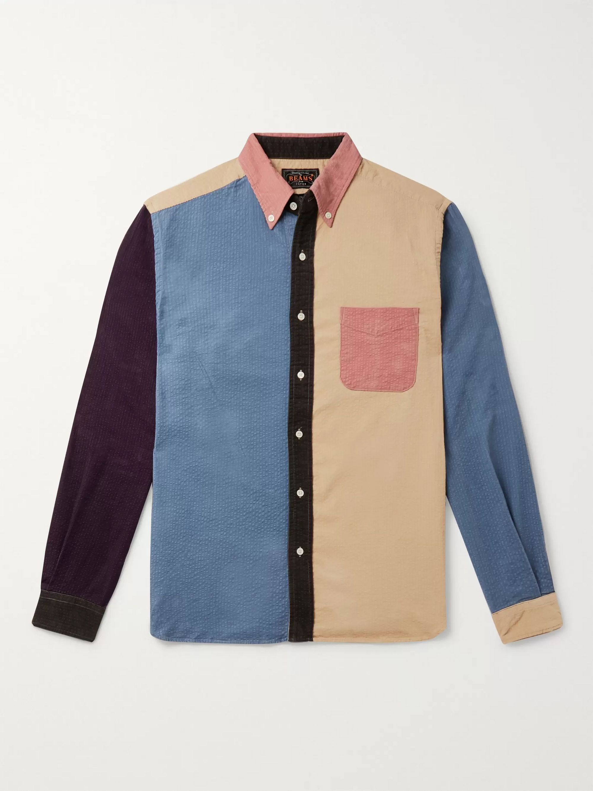 Slim-Fit Button-Down Collar Panelled Cotton-Corduroy Shirt