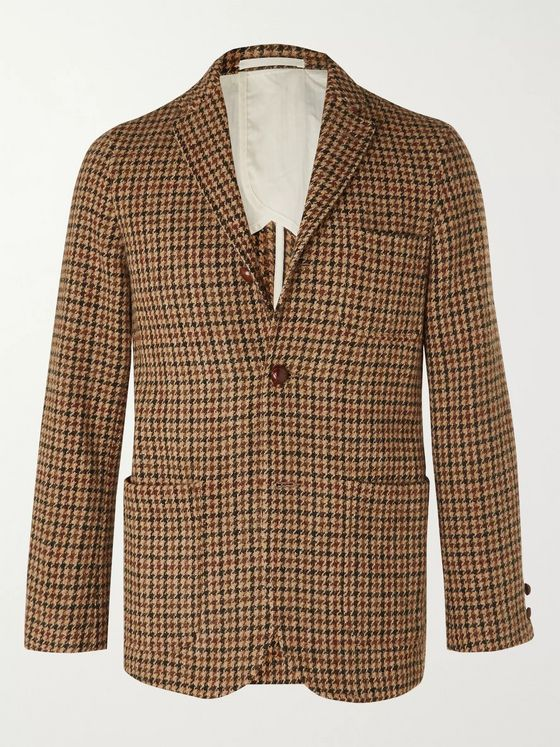 Beams Plus Brown Unstructured Harris Tweed Houndstooth Wool Blazer