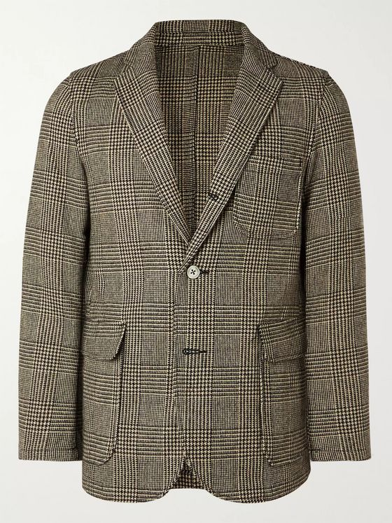 Beams Plus Beige Unstructured Prince of Wales Checked Wool-Blend Blazer