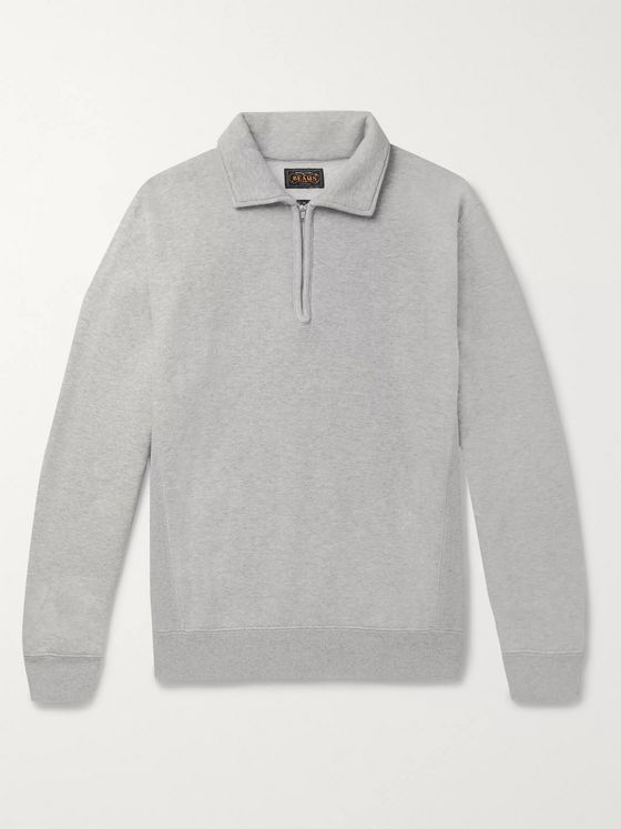 Beams Plus Mélange Fleece-Back Cotton and Wool-Blend Half-Zip Sweatshirt