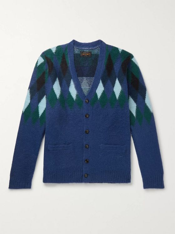 Beams Plus Argyle Jacquard-Knit Cardigan