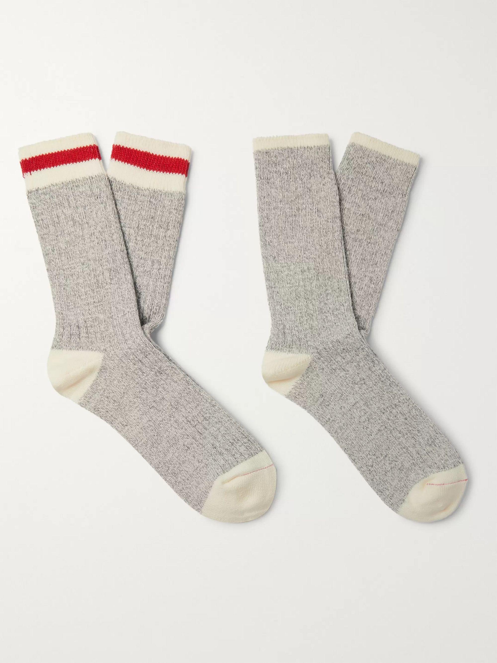 Ragg Two-Pack Mélange Cotton-Blend Socks