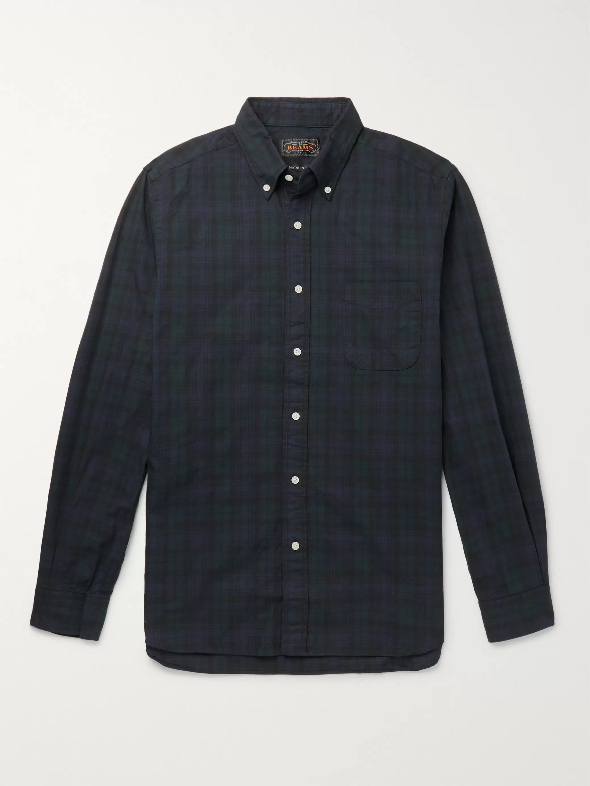 Button Down Collar Checked Cotton Twill Shirt by Beams Plus