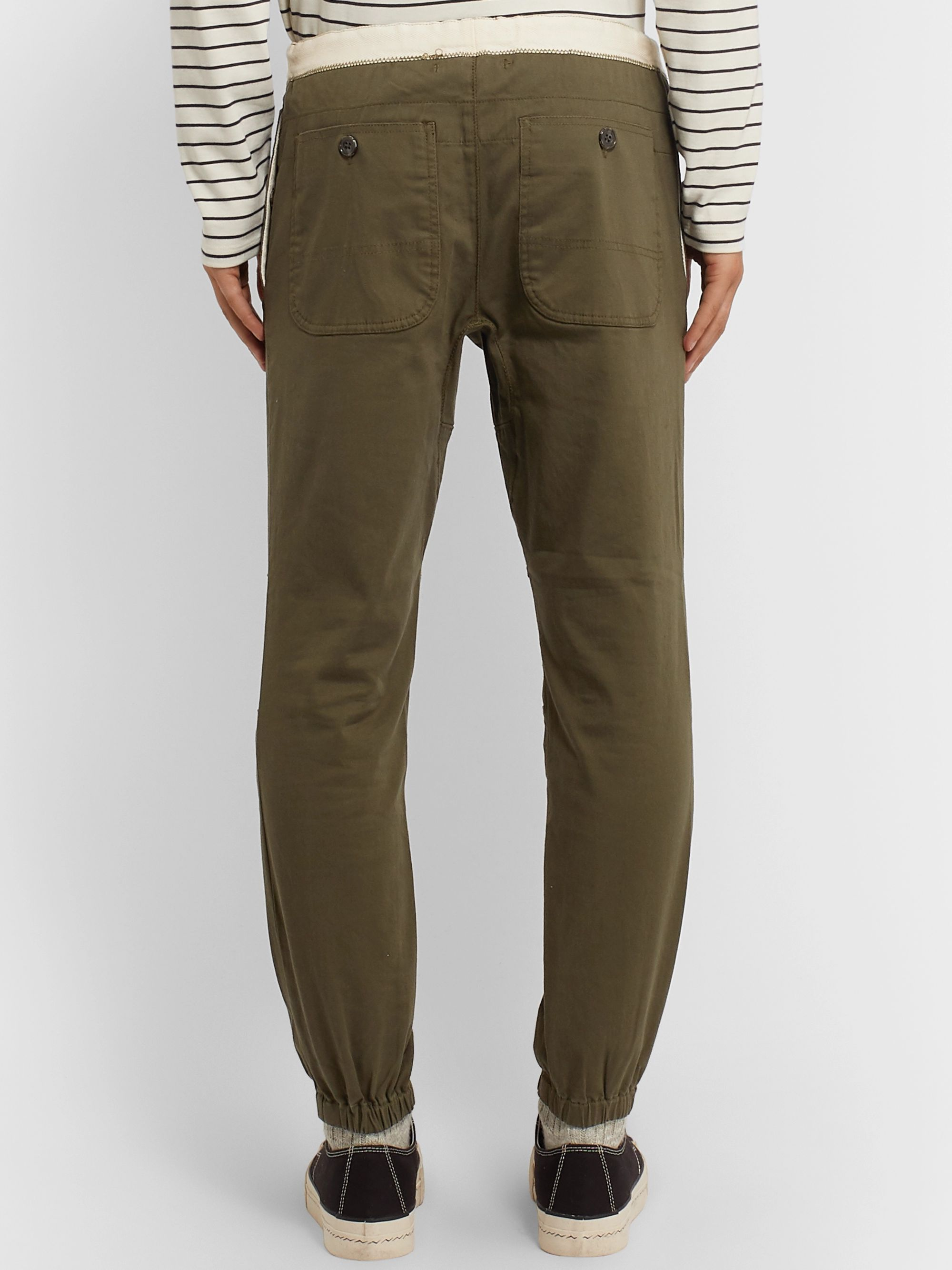 Beams Plus Slim-Fit Tapered Grosgrain-Trimmed Cotton-Blend Twill Drawstring Trousers