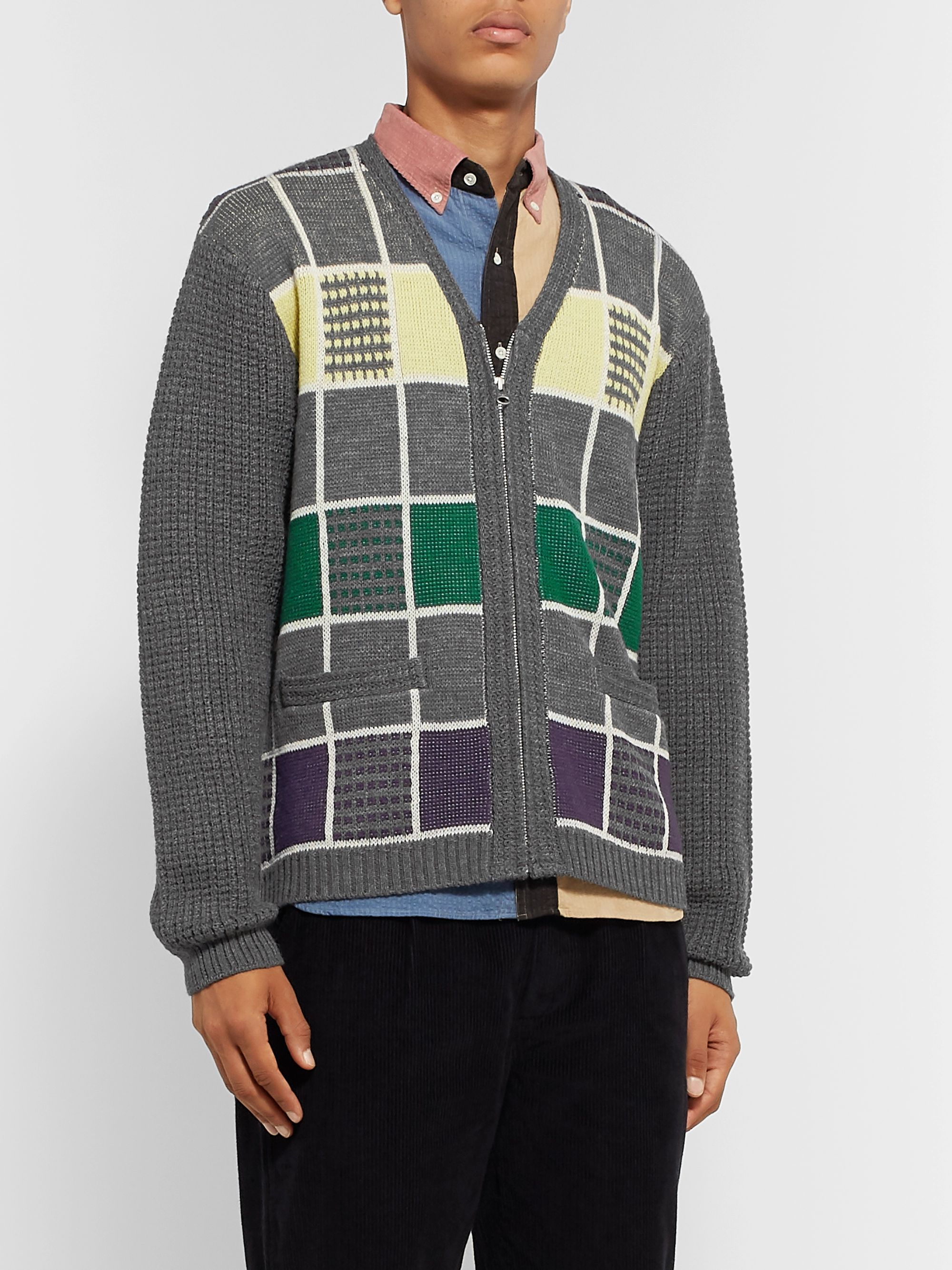 Beams Plus Checked Wool Zip-Up Cardigan