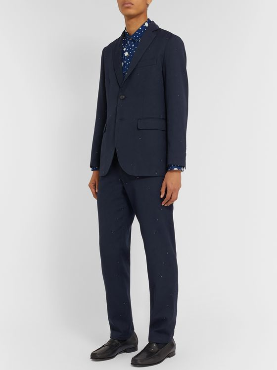 Blue Blue Japan Navy Slim-Fit Embroidered Wool-Blend Twill Suit Jacket