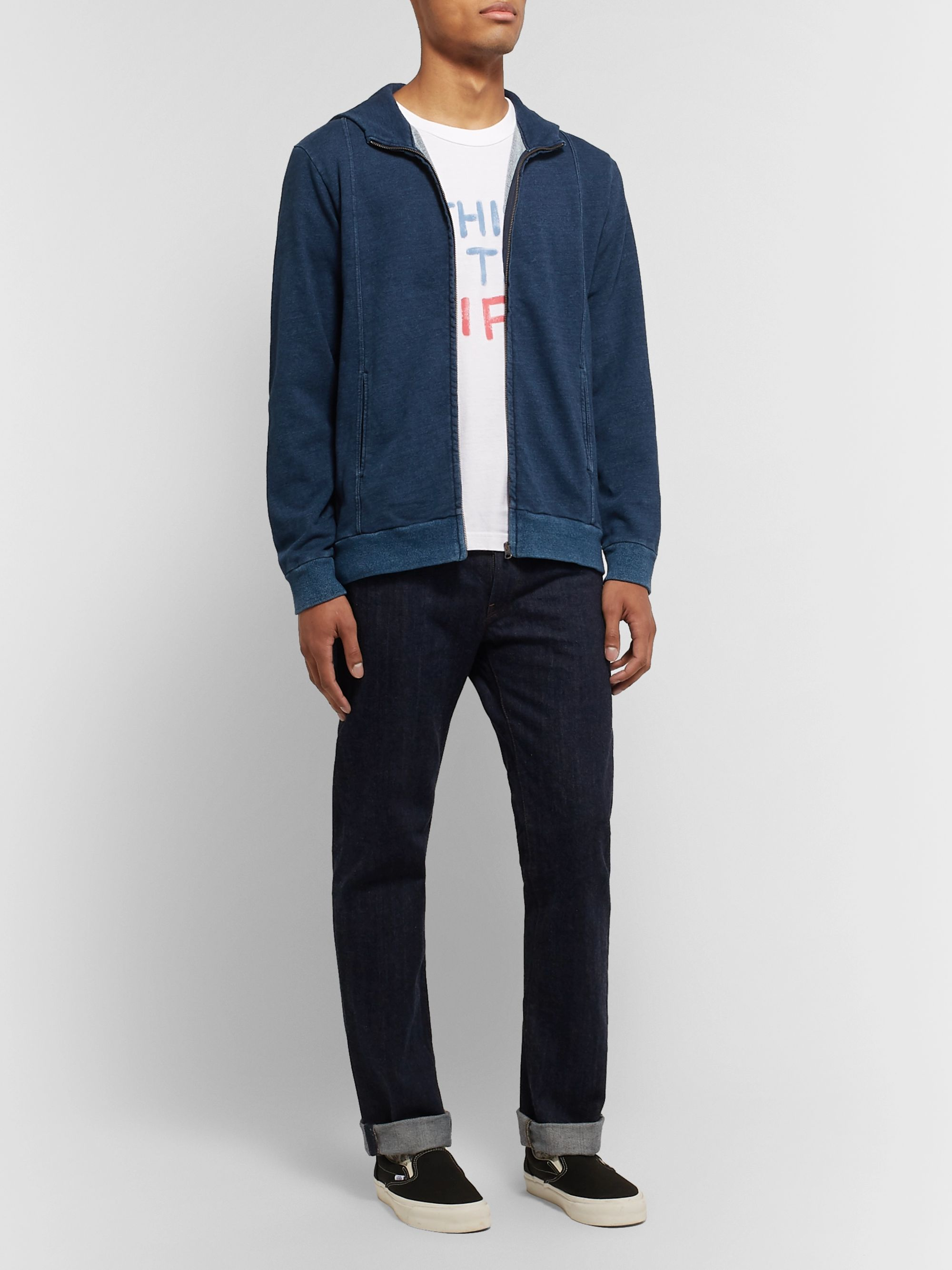Blue Blue Japan Indigo-Dyed Loopback Cotton-Jersey Zip-Up Hoodie