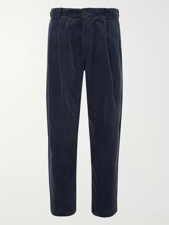 Blue Blue Japan Wide-Leg Pleated Cotton-Corduroy Trousers
