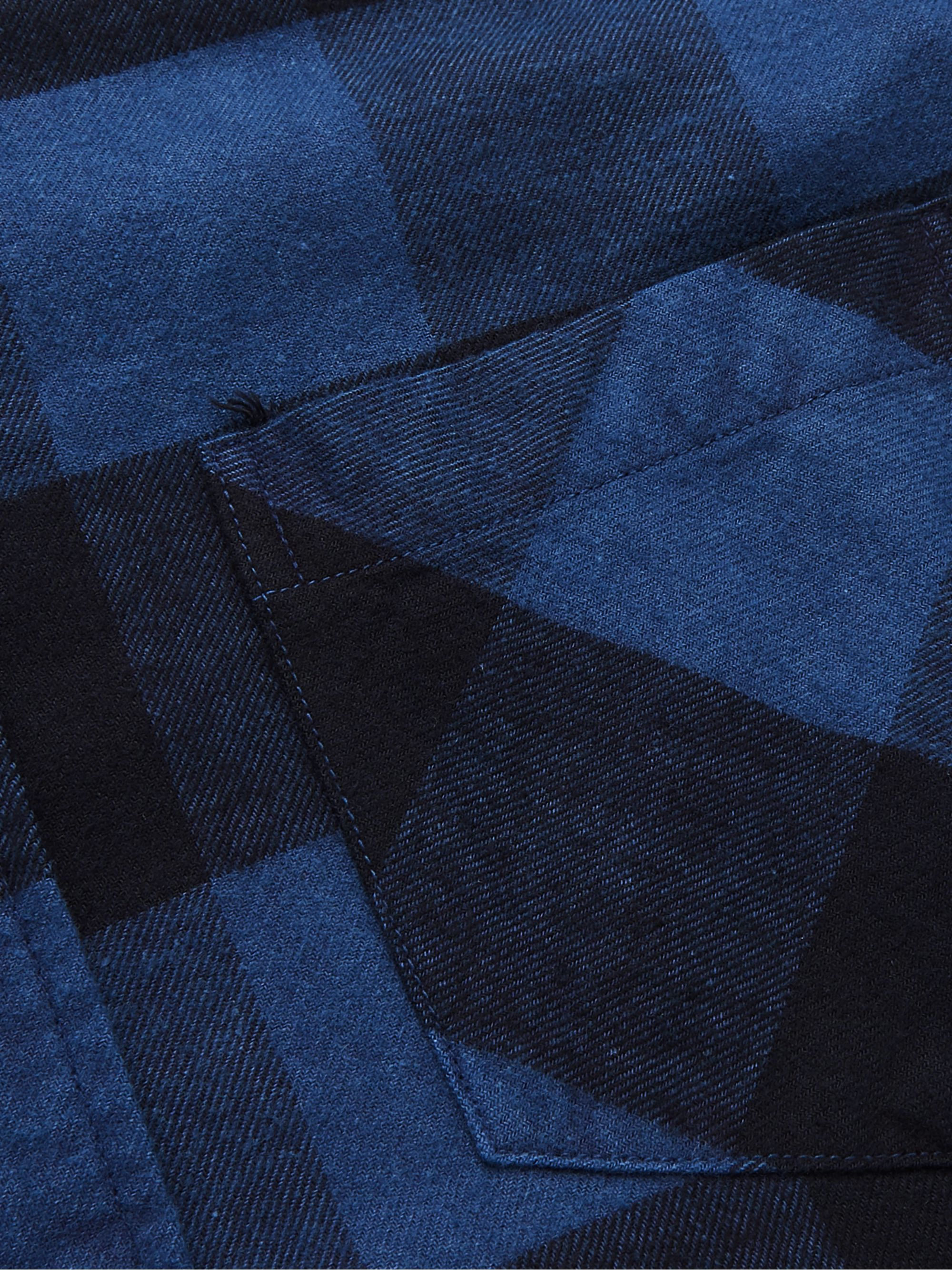 Blue Blue Japan Button-Down Collar Patchwork Checked Cotton-Flannel Shirt