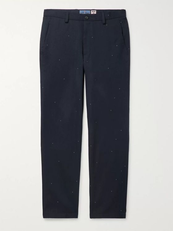 Blue Blue Japan Navy Embroidered Wool-Blend Twill Trousers