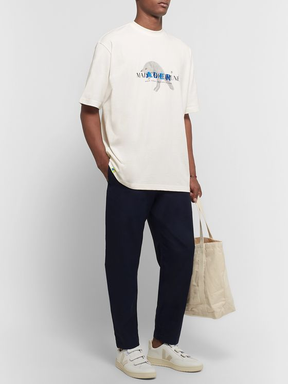 Maison Kitsuné + ADER error Oversized Logo-Embroidered Printed Cotton-Jersey T-Shirt