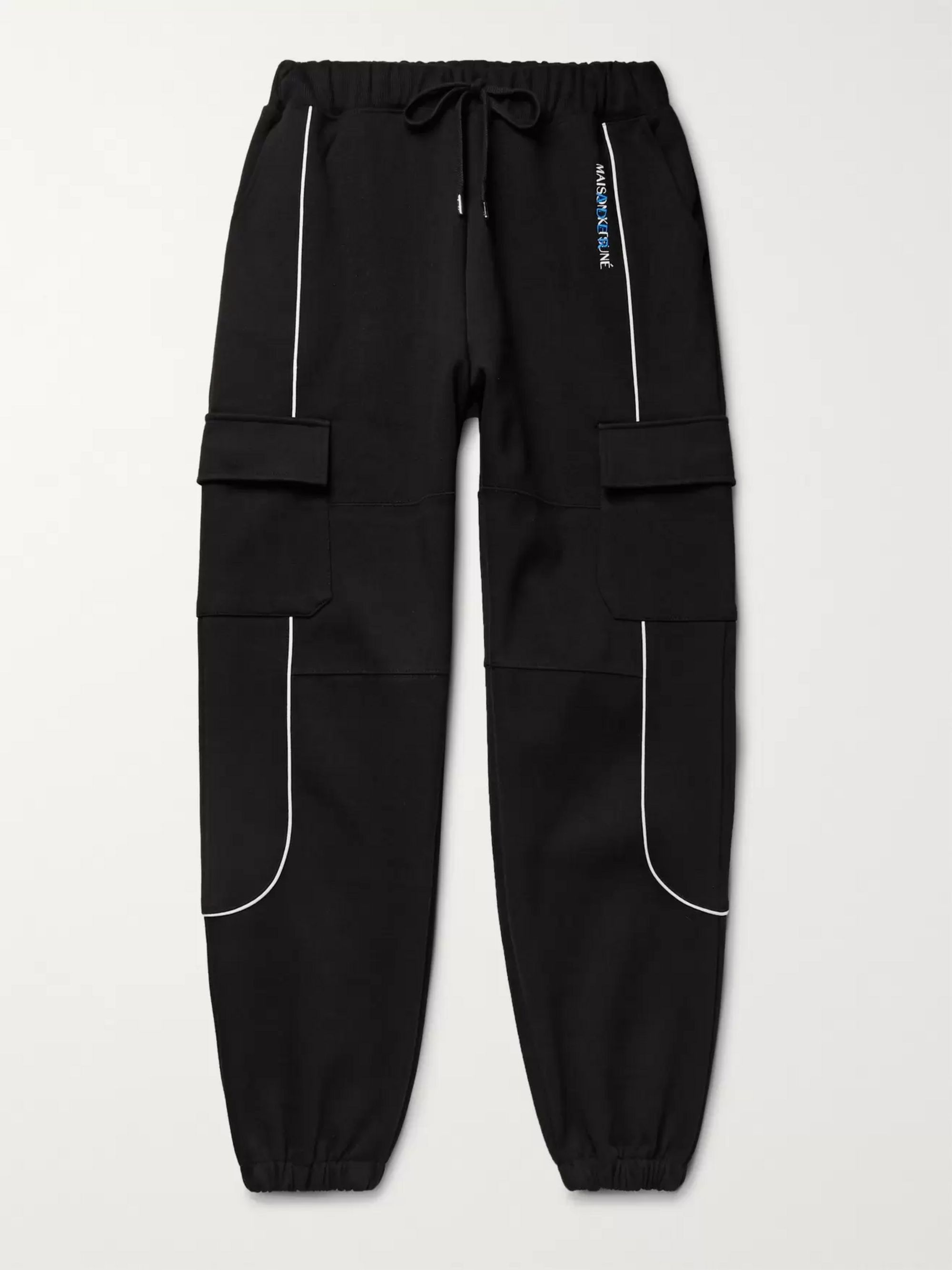 Maison Kitsuné + ADER error Logo-Embroidered Piped Cotton-Blend Jersey Sweatpants