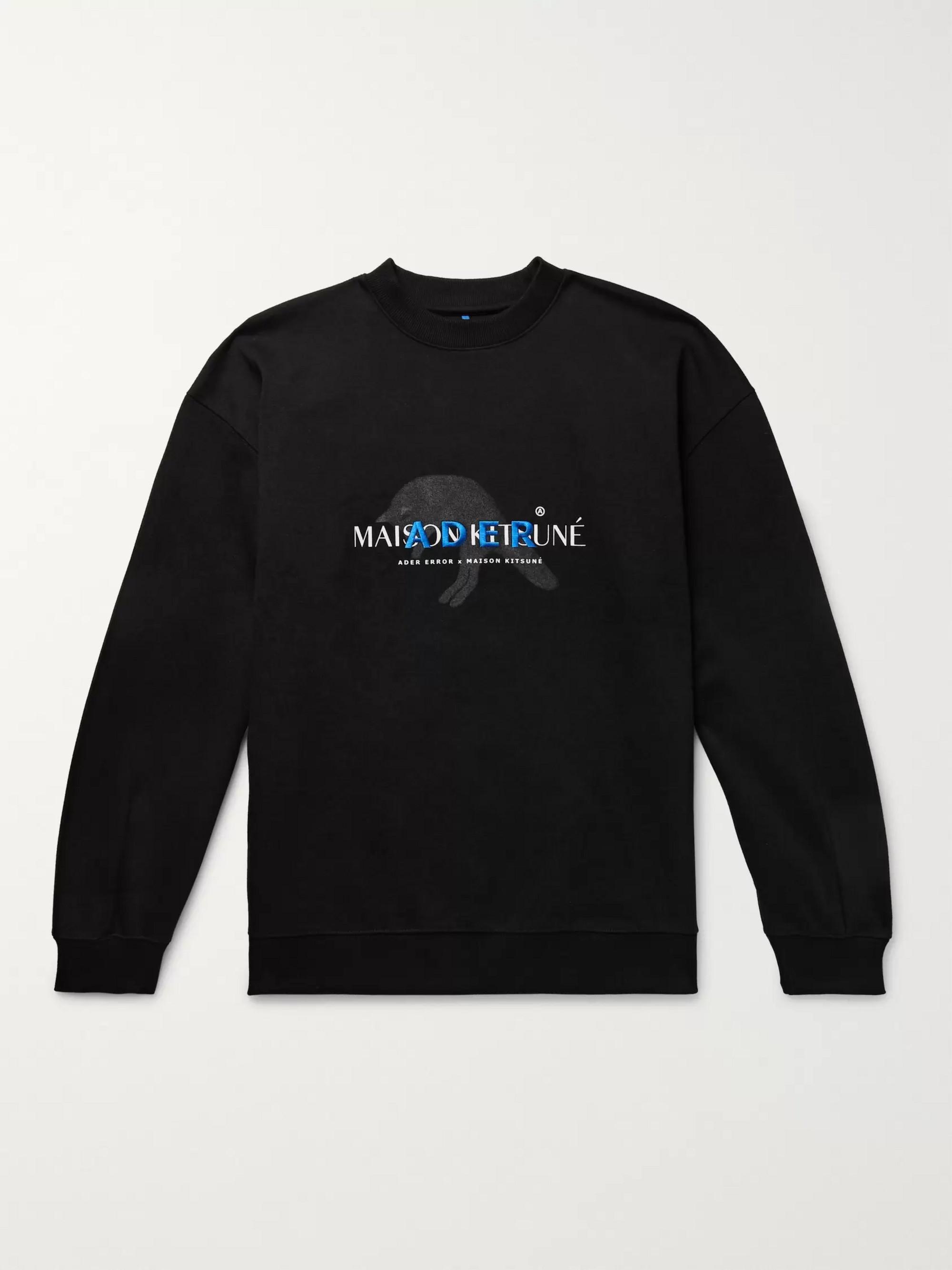 + Ader Error Oversized Logo Detailed Cotton Blend Jersey Sweatshirt by Maison Kitsuné