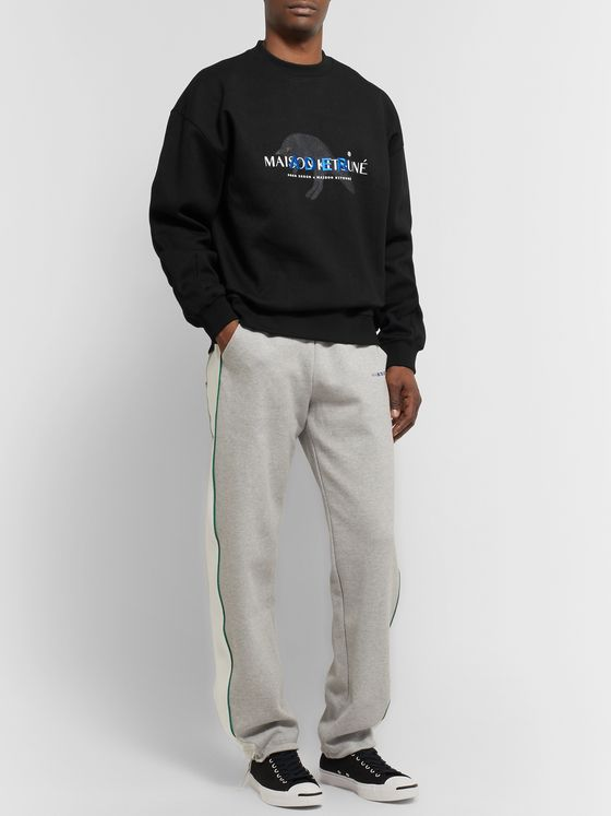 Maison Kitsuné + ADER error Oversized Logo-Detailed Cotton-Blend Jersey Sweatshirt