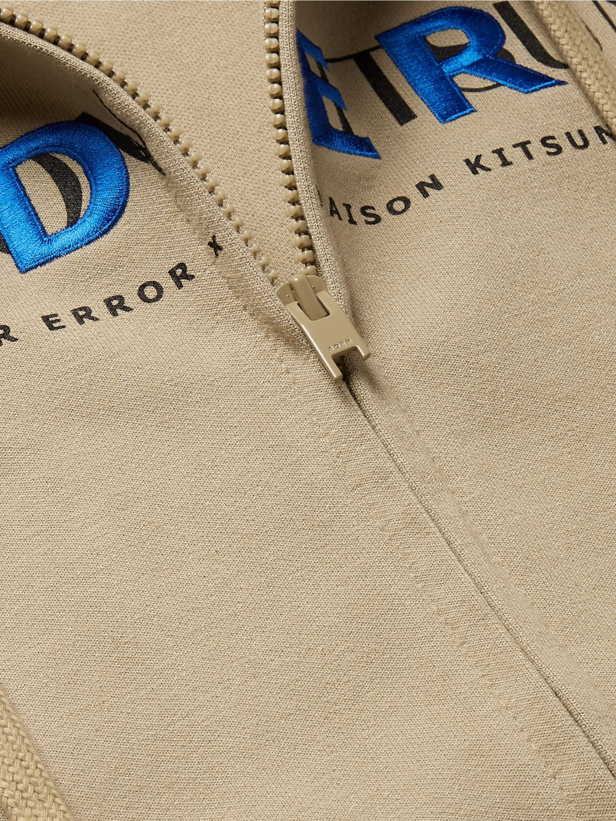 Maison Kitsuné + ADER error Oversized Logo-Print Cotton-Blend Jersey Zip-Up Hoodie