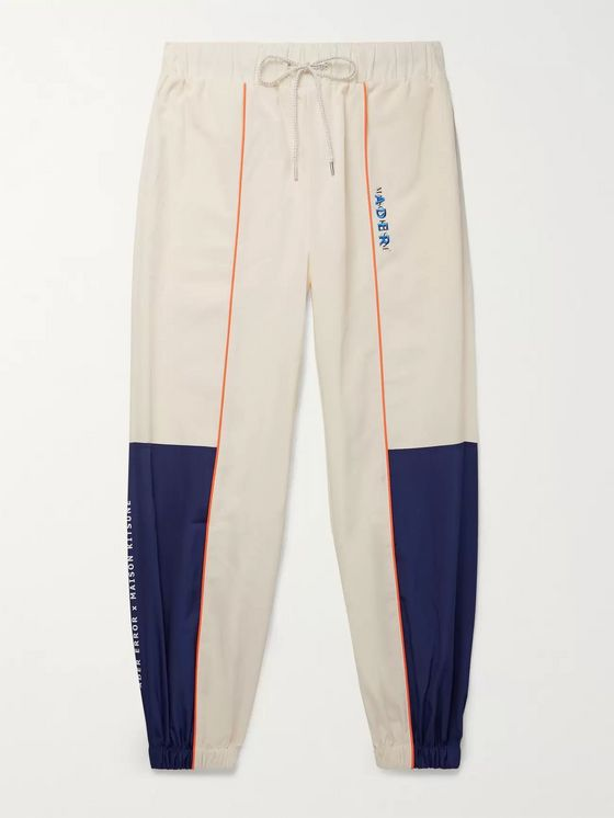 Maison Kitsuné + ADER error Tapered Logo-Embroidered Piped Shell Track Pants