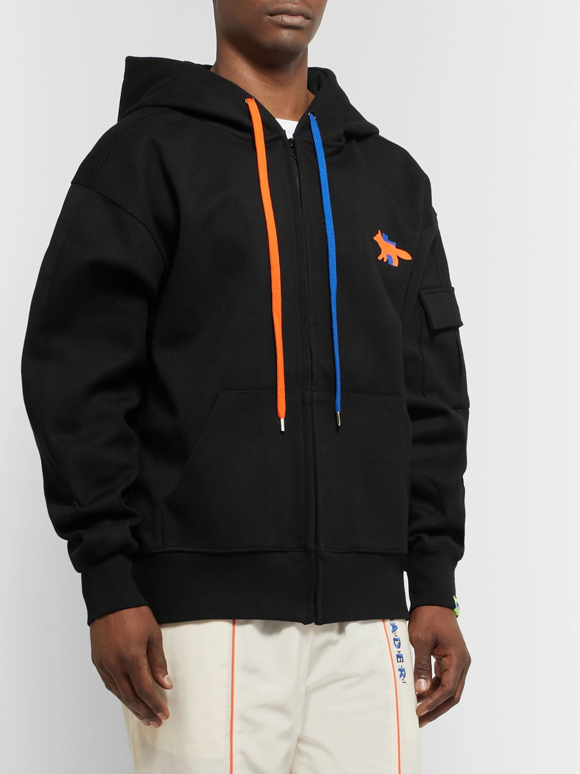 Maison Kitsuné + ADER error Oversized Printed Cotton-Blend Jersey Zip-Up Hoodie