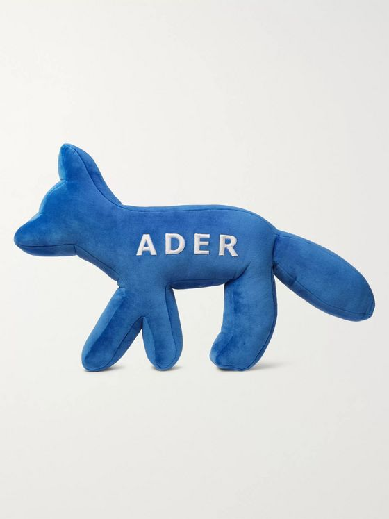 Maison Kitsuné + ADER error Logo-Embroidered Velour Cushion