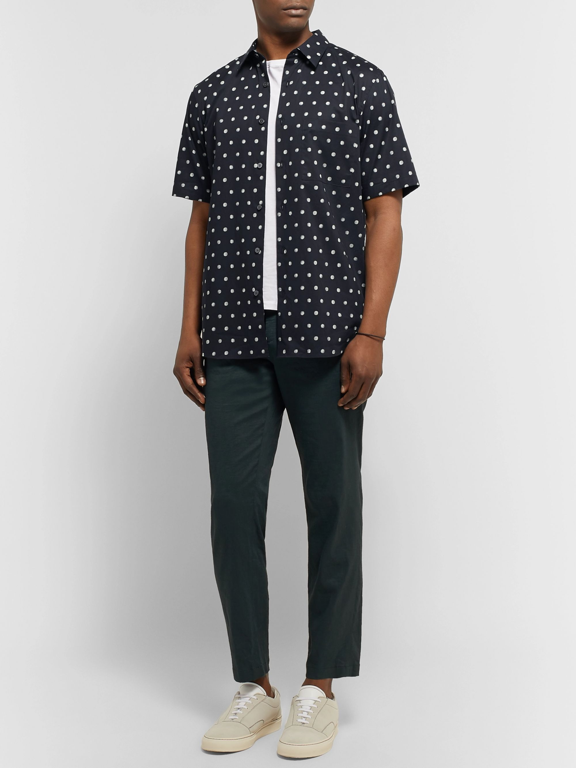 Theory Virsko Polka-Dot Cotton-Blend Poplin Shirt
