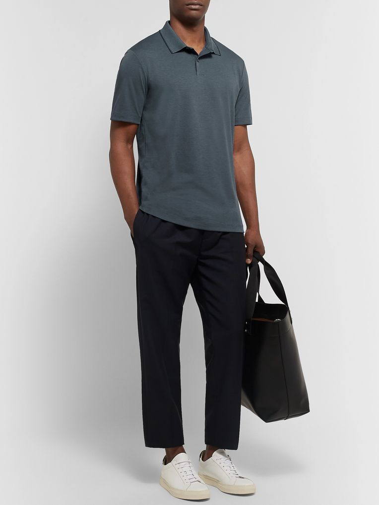 Theory Standard Contrast-Tipped Cotton-Blend Jersey Polo Shirt
