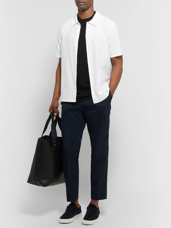 Theory Navy Curtis Tapered Cropped Stretch-Cotton Blend Trousers
