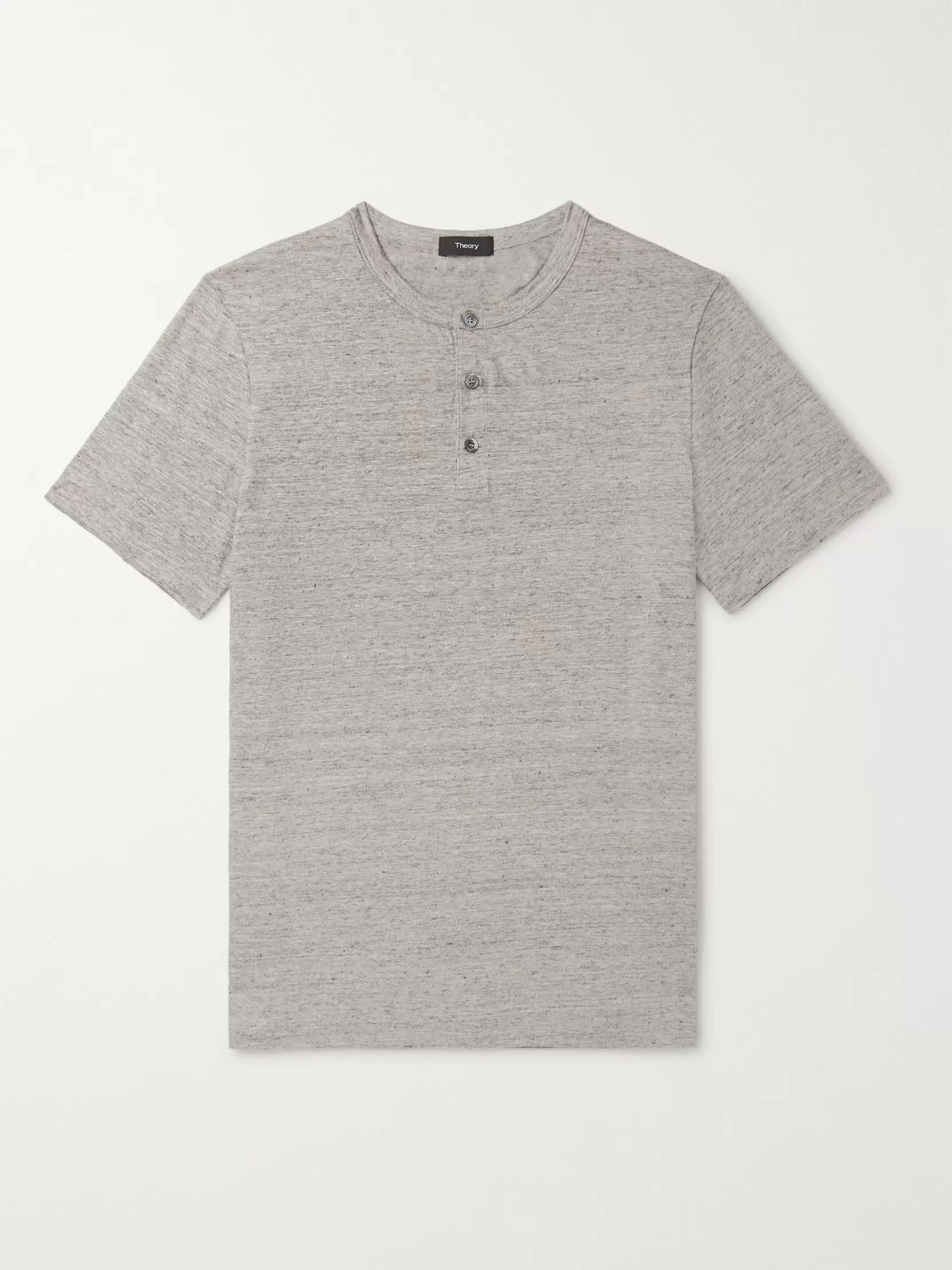 Theory Mélange Stretch-Linen Henley T-Shirt