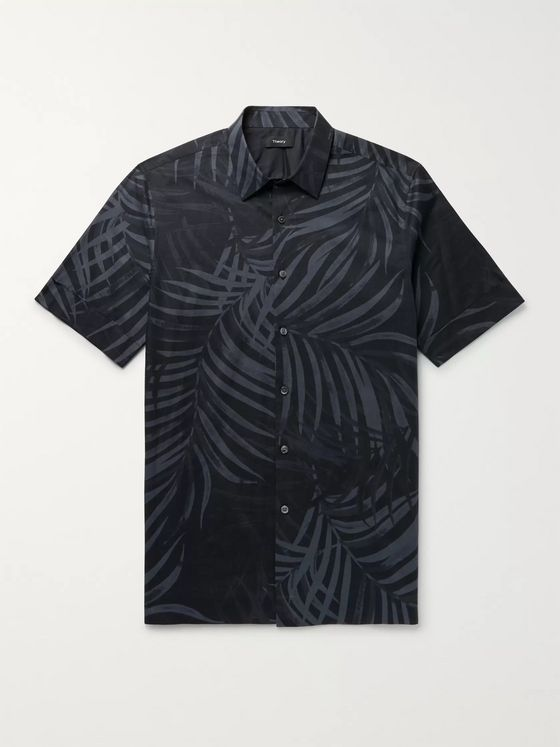 Theory Menlo Printed Cotton-Blend Shirt