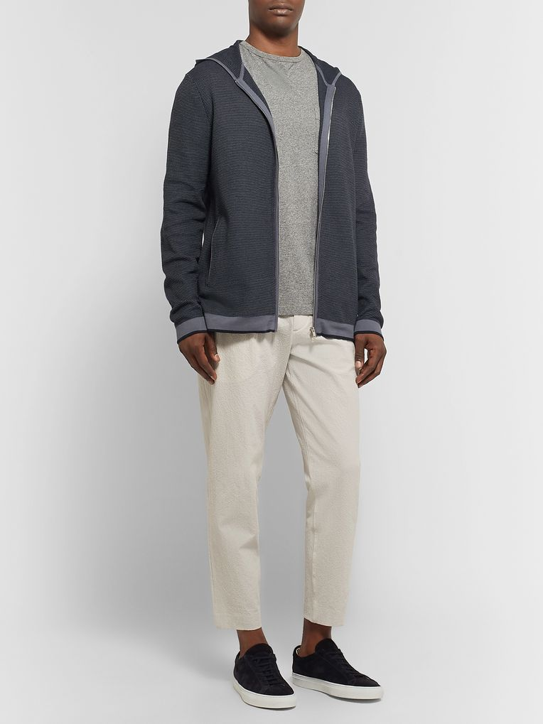 Theory Braghe Textured Cotton-Blend Zip-Up Hoodie