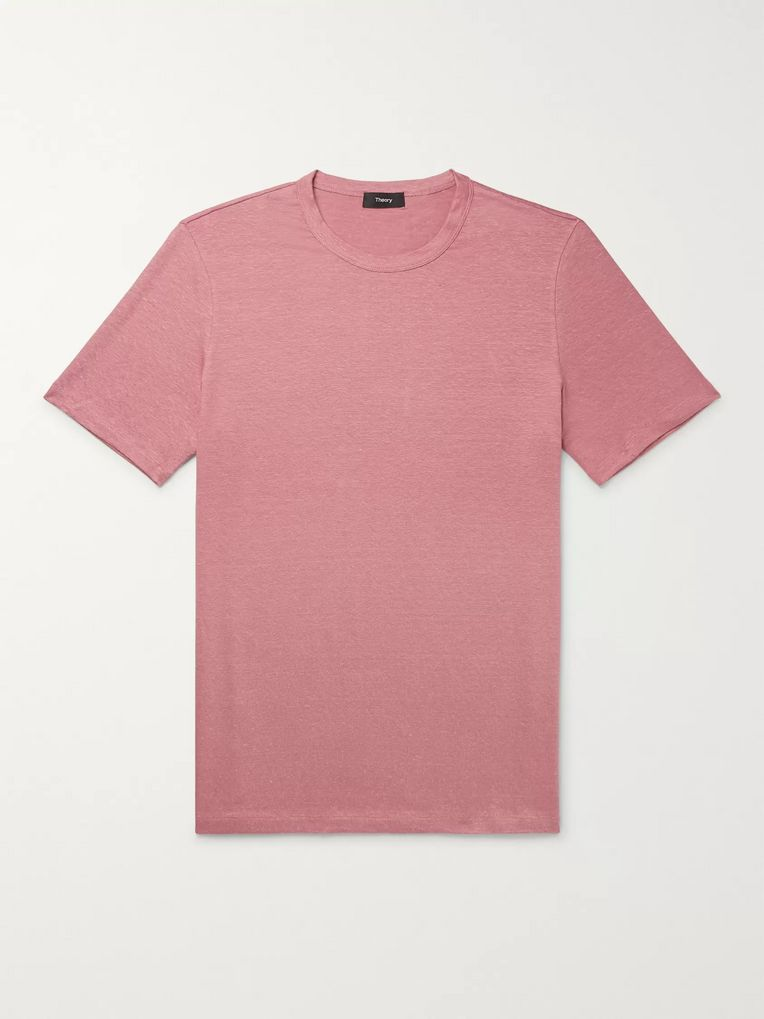 Theory Essential Stretch-Linen T-Shirt