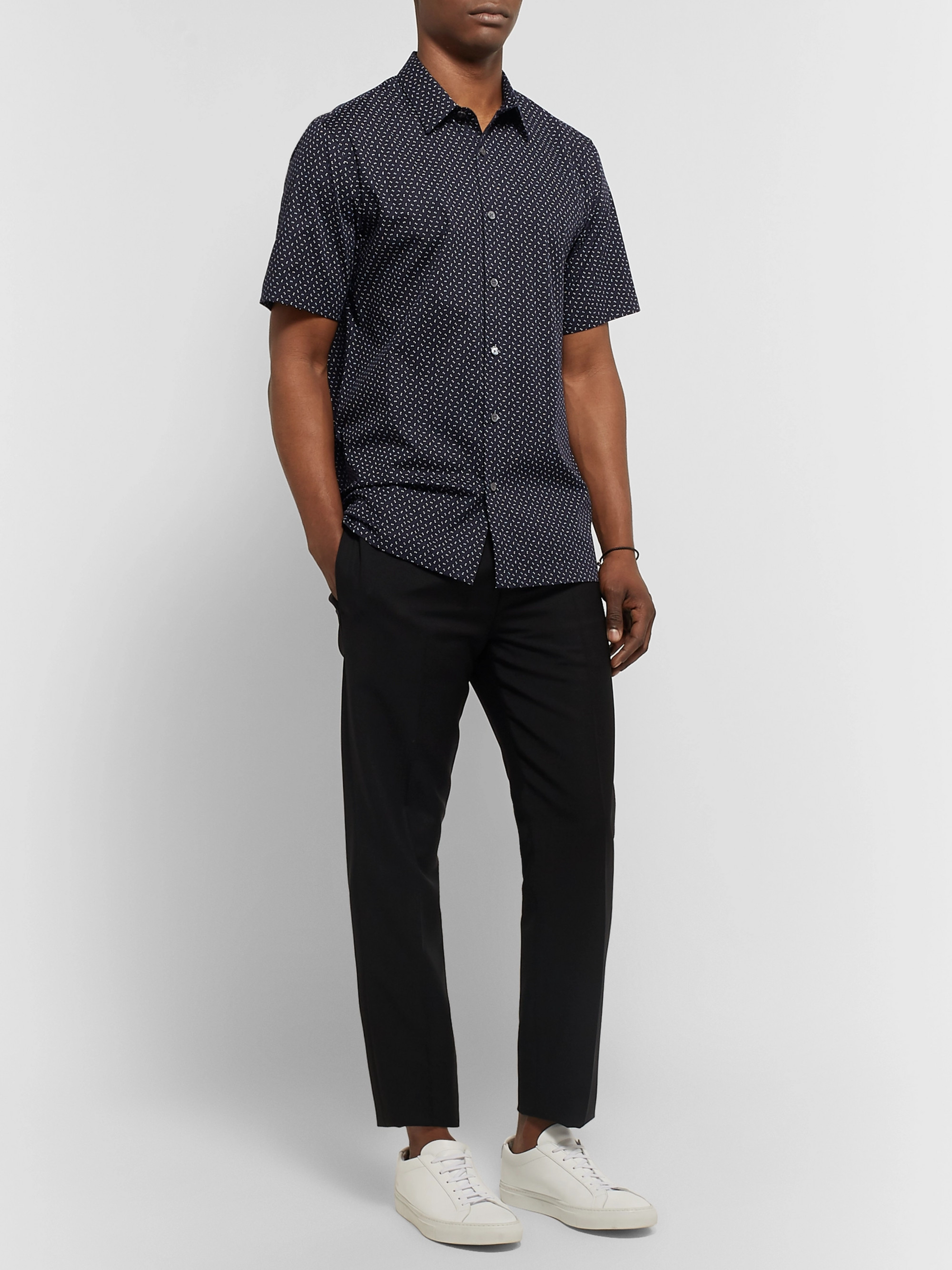 Theory Irving Printed Cotton-Poplin Shirt