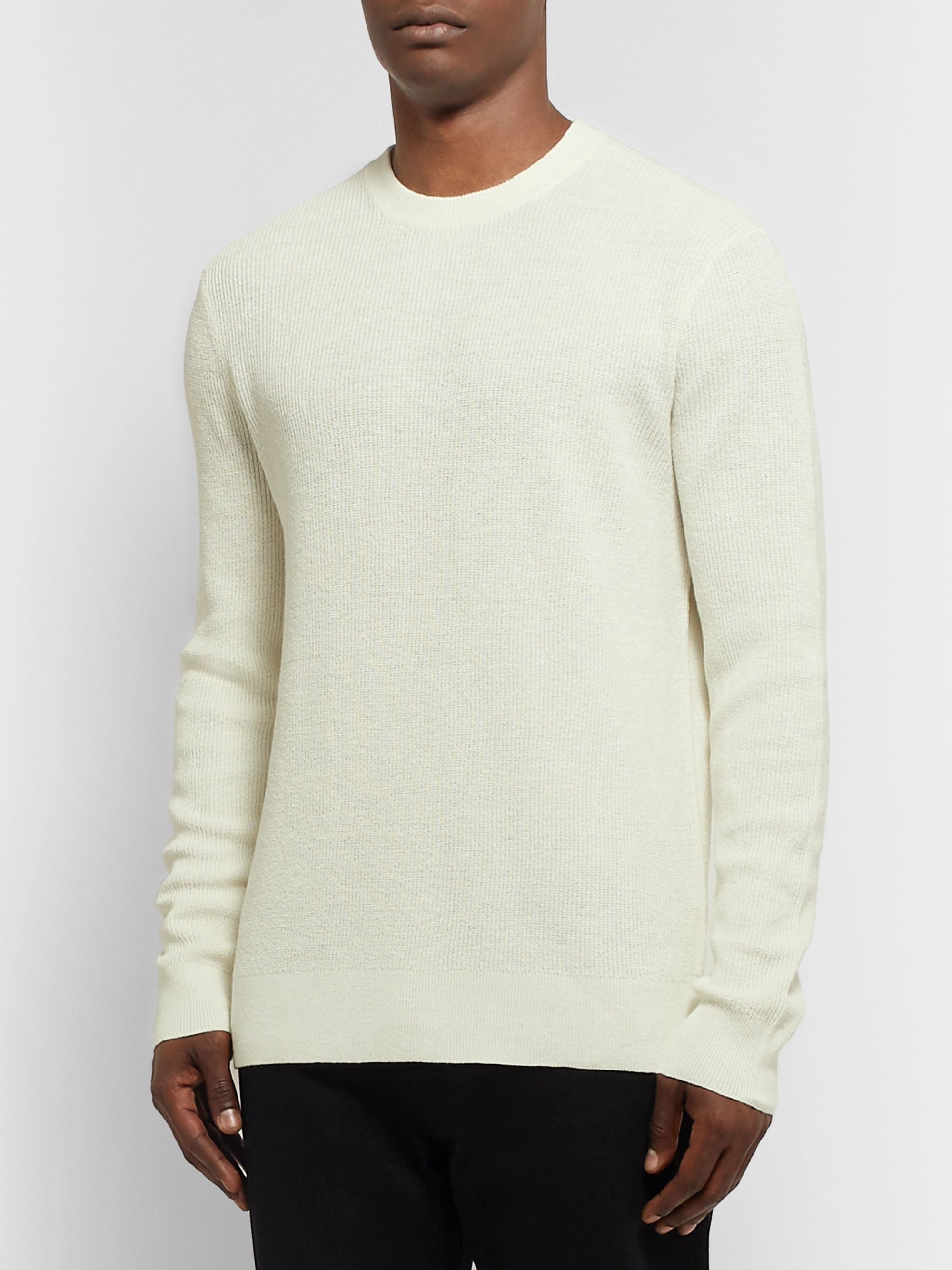 Theory Davies Textured-Knit Linen-Blend Sweater