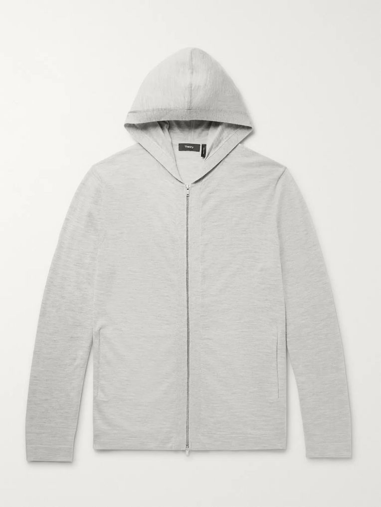 Theory Lievos Mélange Cashmere Zip-Up Hoodie