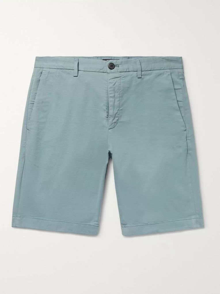 Theory Zaine Slim-Fit Garment-Dyed Stretch-Cotton Twill Shorts