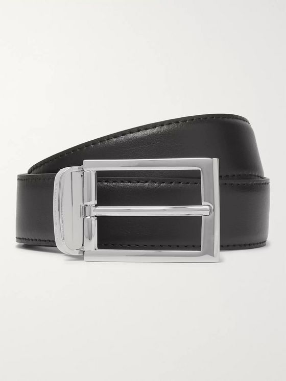 Ermenegildo Zegna 3cm Black and Dark-Brown Reversible Leather Belt