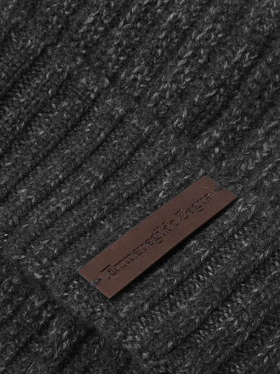 Ermenegildo Zegna Ribbed Mélange Cashmere and Wool-Blend Beanie
