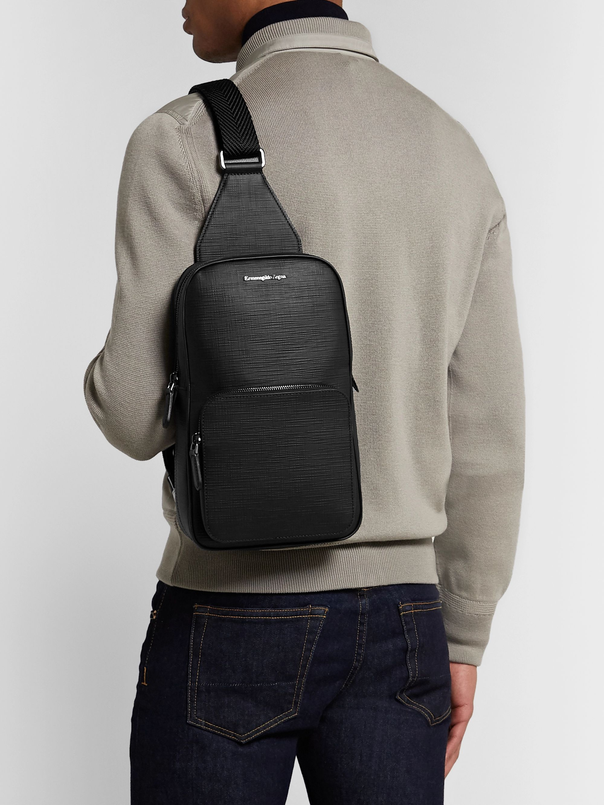 Ermenegildo Zegna Cross-Grain Leather Backpack